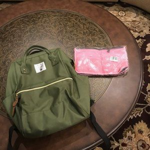 Camo Green Poly/Canvas Backpack w/Small Bag Inser